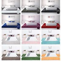 Bettumrandung Shaggy Hochflor Teppich-Läufer Einfarbig 3-teilig Schlafzimmer