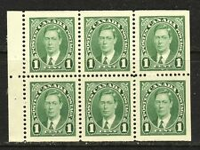 1937 #231b 1¢ KING GEORGE VI MUFTI ISSUE BOOKLET PANE F-VFNH