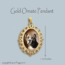Pit Bull Terrier Dog Brindle Natural Ears - Ornate Gold Pendant Necklace