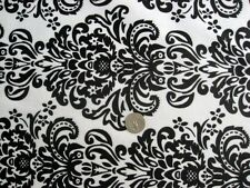 DAMASK CROWN BAROQUE BLACK WHITE PRINT MINKY CUDDLE SEW CRAFT QUILT FABRIC 30x36