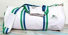 Lacoste Parfums WHITE NYLON CANVAS ZIP TOP OVERNIGHT BAG GYM TRAVEL DUFFLE