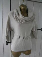 KAREN MILLEN Wool blend cowl neck belt sweater jumper top taupe S. 2 = 10 12 UK