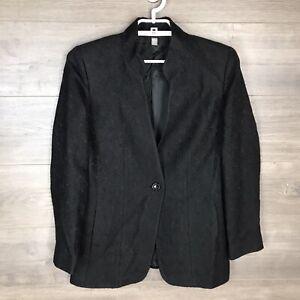 Ellen Tracy Women Size 8 Textured Jacquard Blazer Jacket Black Lined One Button