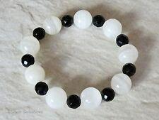 Trama grossa bianco/trasparente Jade Pietre Preziose & sfaccettato Nero Onyx Perline Braccialetto di Moda