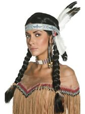 Black Native Indian Wig, Plaits Adult Womens Smiffys Fancy Dress Costume