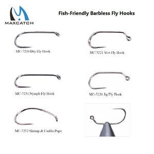 Maxcatch 100pcs Fly Fishing Hooks Dry&Wet&Nymph&Shrimp Caddis Pupa Jig Hooks