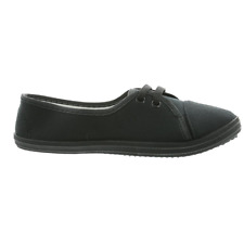 Brand New Womens Short Canvas Summer Lace Up Plimsoles Black or White Plimsolls