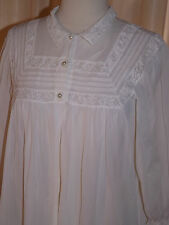 Vtg 1950s Radcliffe Delicate Snow White Nylon Open Front Robe Sz S Dainty Lace