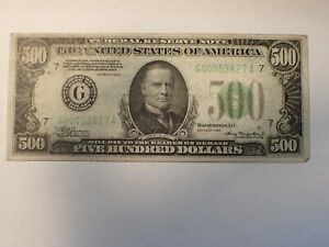 1934 $500. Federal Reserve Note  Chicago