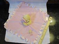 SECURITY Blanket Disney Baby Winnie The Pooh Bear Pink Satin Rattle Flower Plush