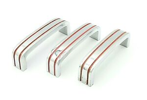 Vtg Lot of 3 Chrome Drawer Pull RED Lines Cabinet Door Handle Solid Heavy FS