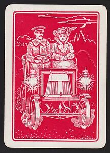 1 Single VINTAGE Playing/Swap Card OLD WIDE UK SUNDAY DRIVE AUTOMOBILE CAR Red