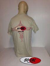 So-Cal t-shirt pinstripe SAND COLOUR sz M rear print hot rod 32 ford chev