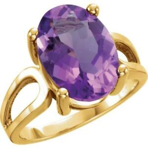 Oval 14 x 10 MM Amethyst Ring 14k Yellow, Rose or White Gold Size 7