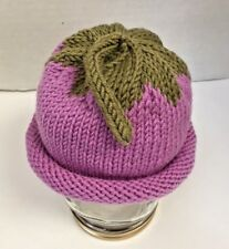 Hand Knit Infant Baby Girl Pink Berry Beanie Hat Superwash 100% Merino Wool