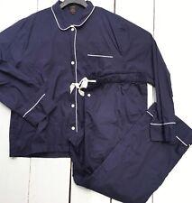 NWOT J.Crew Womens XXL Vintage Pajama Set Navy Blue/White Piping Cotton Poplin