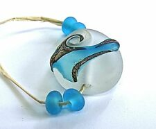 """UNIQUE HANDMADE LAMP WORK GLASS FOCAL BEADS, """"BLUE/SILVER ROCK"""" ETCHED"""