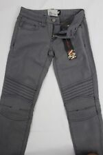 New Women Ed Hardy Fashion Low Rise Jeans Denim Grey Skinny Straight Leg W25 L31