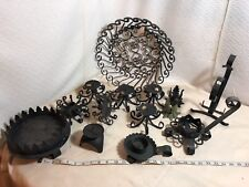 A LOT of Black WROUGHT IRON 12 CANDLE HOLDERS+Bowl New Make Offer Valentine Gift