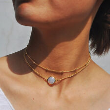 2 Layer Crystal Opal Natural Stone Pendant Necklace Choker Women Jewelry lp