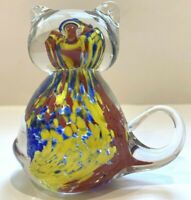 "Glass Cat Murano Style Paperweight  3 1/2"" Tall Rainbow Inside"
