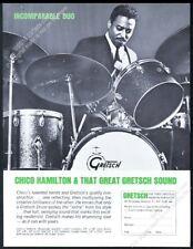 1965 Chico Hamilton photo Gretsch drums drum set kit vintage print ad