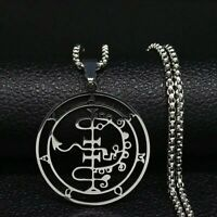 Stainless Steel Sigil Lucifer Asmoday Baphomat Satan Devil Pendant Necklace UK