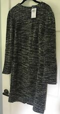 NWT Plus Size 16 Chaps Womens Boucle Sweater Dress Black & White Marled