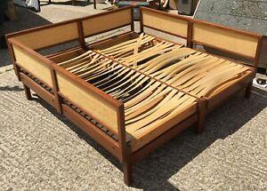 Vintage retro 1960s 1970s rattan teak bed day bed daybed sofa restoration