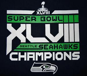 Seattle Seahawks Adult Navy Blue T-Shirt - Super Bowl XLVIII Champions