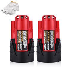 For Milwaukee 48-11-2401 M12 12V RED Lithium Li-Ion Battery Packs 2.5Ah (2-pack)