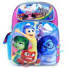 """Disney Inside Out 16"""" School Backpack Large Book Bag - Emotion Rain Pink Blue"""
