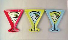 Set of 3 Martini Plates - Fun Colorful Ceramic