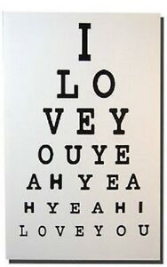 Eye Test Canvas Large Picture The Beatles I Love You 40x60cm Valentines Present
