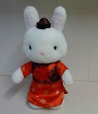 BIG WHITE RABBIT IN CHINESE DRESS AND BLUE TUSH BUTTON PLUSH TOY