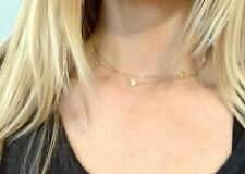 """14k Yellow Gold Star Necklace Choker 31"""" Vry Zoe Chicco"""