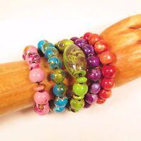 5PC Hand Painted Wood Stretch Bright Color Bracelets WHOLESALE LOT 5 Colors