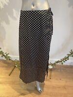 Wednesday's Girl Skirt Size M 12 & 18 Midi Black Ruched Polka Spot Print GM84