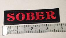 "Biker vest patch  SOBER 4"" X 1"" IRON ON (RED)"