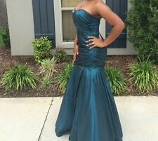 Teal sz 6 mermaid formal prom pageant gown with 1 Jeweled Strap Beyond by Jovani