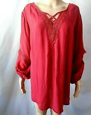 AVENUE WOMEN'S PLUS SIZE 22/24 RED BLOUSE STRAPPY CROCHET EMBELLISHED