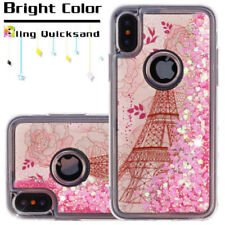 For iPhone X - Eiffel Tower Paris Pink Hearts Glitter Liquid Water Case Cover