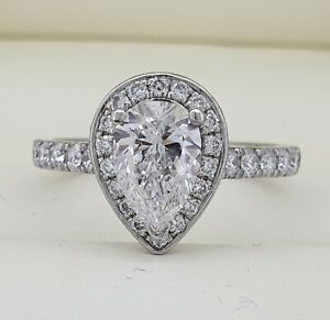 HUGE 1.5 Carat Pear Cut Diamond & Platinum Engagement Ring! $22K Value!