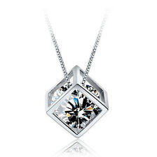 925 Sterling Silver PL Hollow Cube Box Cubic Zirconia CZ Pendant Necklace 17.7""