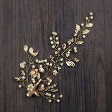Retro Gold Leaves Pearl Bride Hair Clip Head Piece Hair Band Wedding Comb Tiara
