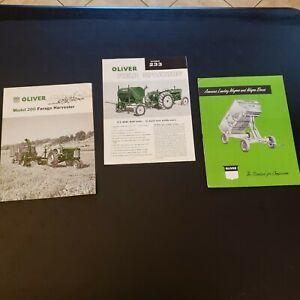 Lot of 3 Vtg 1957 1958 Oliver Tractor Harvester Wagon Field Sprayers Advertising