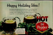 1963 Hot Dr Pepper Soda With Lemon Happy Holiday Idea Vintage Print Ad 1761
