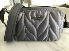 Kate Spade Ellie Double Zip Camera Bag Quilted Nylon Crossbody Bag Anthracite