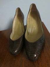 Stunning Vintage Dark Brown Leather Snake Skin Pumps Size 8