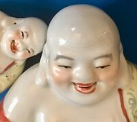 Vintage Famille Rose Laughing Buddha and Baby Buddha Porcelain Marked & Numbered